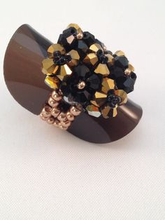 Pretty BiCone Ring Black And Gold Glass by XxxWithyouinmindxxX