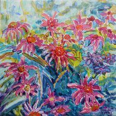 """Echinacea 12"""" x 12"""" mixed media by Rea Kelly.   reakelly.com"""