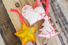 10 Handmade Ornaments to Hang on Your Tree. I love these ideas for ornaments!