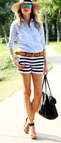 Summer style - love the black and white striped shorts with the chambray shirt