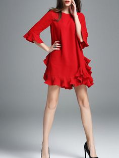 Frill Sleeve Cotton-blend Casual Plain Mini Dress @ StyleWe.com. - $ 69.00 ( XMAS/ VALENTINE'S DAY WARDROBE MUST HAVE )