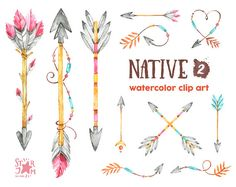 Native 2. Arrows. Watercolor clipart indian by StarJamforKids