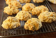 Chicken broth,garlicand shredded Cheddar cheese add great flavor to these tender and flaky biscuits.