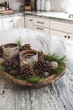 A quick and easy DIY Christmas decor idea that'll look beautiful in your home!✨ Also, how cute are the tiny rattan balls?😭 . . . 📸: Pinterest #tabledecor #tablesetting #homedecor #decor #tabledecoration #tableware #tablescape #tablescapes #handmade #eventplanner #decoration #tablestyling #holidayshopping #holidaydecor #holidayseason #tistheseason #christmasdecor #christmas #christmastime #winterseason #holidayaccent #holidaycentrepiece #tablearrangement #winterarrangement… Country Christmas Decorations, Farmhouse Christmas Decor, Christmas Centerpieces, Rustic Christmas, Cabin Christmas Decor, Christmas Lodge, Christmas Table Centerpieces, Christmas Fireplace, Christmas Porch