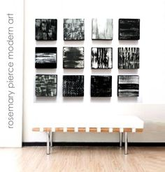 Large Abstract Modern Wall Art in Black White by RosemaryPierceArt, $440.00