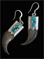 Navajo Indian Bear Claw Dangle Earrings