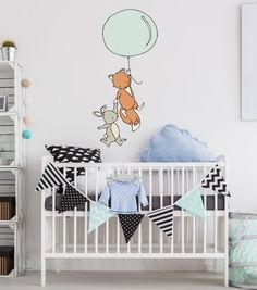 an adorable wall decal for your little ones nursery!  This decal measures 18x38 inches, featuring a bunny and fox holding onto a balloon.  It is a lightweight fabric wall decal that is safe to put on a clean, non-porous wall and can be easily repositioned many times.    Visit the rest of my shop here: https://www.etsy.com/shop/SweetMelodyDesigns