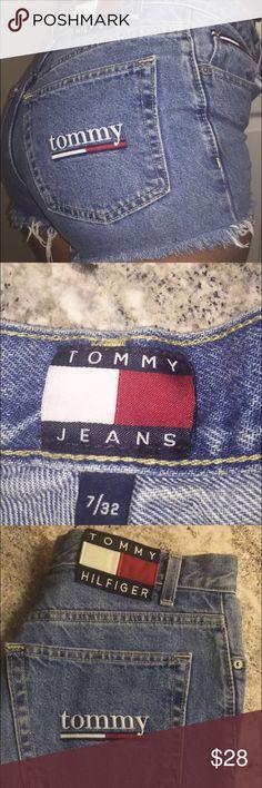 Vintage distressed high waisted shorts Distressed Tommy Hilfiger high waisted shorts Tommy Hilfiger Shorts Jean Shorts