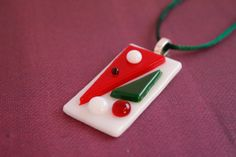 Fused glass necklace; Fused glass pendant; Red, Green, and White Glass Pendant by UniqueGlassTreasures on Etsy