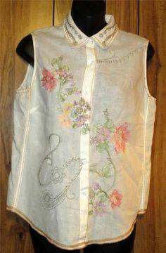 Woman's Saint Tropez West White Linen Embroidered Sleeveless Shirt Size Medium #SaintTropezWest #Blouse #Casual Now $15.87
