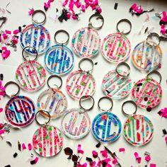 Lilly Pulitzer Inspired Monogram Keychain by MagicalMonograms Monogram Keychain, Vinyl Monogram, Monogram Gifts, Vinyl Crafts, Vinyl Projects, Sweet Sixteen, Acrylic Keychains, Cricut Creations, Key Fobs