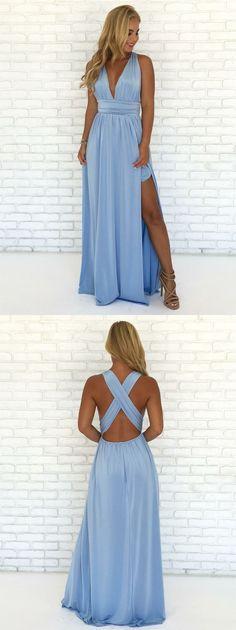 blue prom party dresses, elegant deep v-neck evening gowns, chic formal dresses M2936