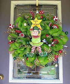 Christmas Wreath Door Elf Deco Mesh Sparkly XL by Kathy   eBay