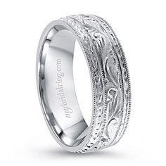 Wreath Engagement Bands In 14k White Gold For Mens