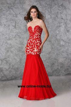 Meerjungfrauen Abend Kleid Bodenlang in Rot
