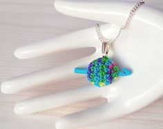 Tiny ball of yarn with mini crochet hook, chain and jewelry pendant, gift for crocheter, hand dyed yarn