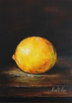 Lemon Still life Original Oil Painting Nina R.Aide Fine Art Fruit Small Painting 7x5 Traditional Classic Art Chiaroscuro by NinaRAideStudio on Etsy