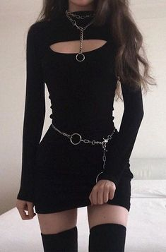 Black Solid Long Sleeve Dress Little Girl Dresses Black Dress Long Sleeve Solid Egirl Fashion, Teen Fashion Outfits, Mode Outfits, Grunge Outfits, Fashion Dresses, Fashion Black, Gothic Fashion, Korean Girl Fashion, Punk Outfits