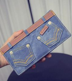 Trendy Double Pocket and Stitching Design Wallet Denim Bag, Blue Denim Jeans, Pocket Sand, Diy Old Jeans, Diy Makeup Bag, Diy Bags Purses, Denim Handbags, Clutches For Women, Leather Design