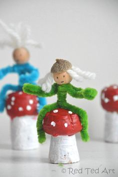 Mushrooms and pipecleaner elves (double up as Christmas decorations too!). via http://www.redtedart.com