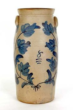 Colonial Sense:  Stoneware Butter Churn 19th c., 23.75 in tall. Sold Pook and Pook, Jan 2012. Est price 1500-2000, Realized 5,214.00.  Click on this photo and will take u to other items sold in that auction. All the items realized prices waaaay higher than estimates. Folks appear to be definitiely investing in primitives and antiques.