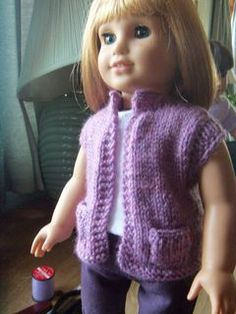 Summer Vest free knit pattern for American Girl dolls