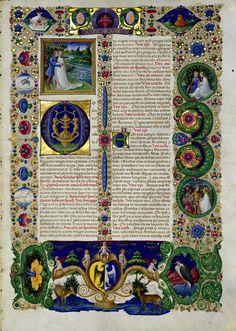 Bibbia di Borso d'Este, 1455-1461. Modena, Biblioteca Estense, vol. I (Lat. 422 = ms. V.G.12): Inizio del Cantico dei Cantici.
