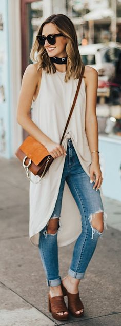 87f951b78d  summer  outfits White Asymetric Top + Destroyed Skinny Jeans + Brown Mules  Vest Outfits