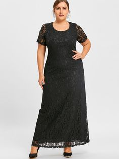 Gamiss Elegant O-Neck Lace Short Sleeves Vintage Long Maxi Gown Plus Size  Dress 52c20b608