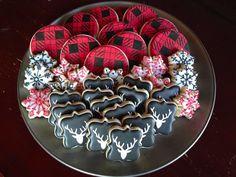 Snowflakes, Plaid and Simple Deer Head Cookies by Sweet T's Cookiehouse