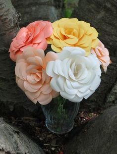 Six 6 Paper Roses in Any Colours  Graduation by EverBloomsFlowers, $40.00