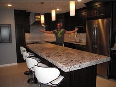 Proud homeowner in his new kitchen in Bedford, Massachusetts!