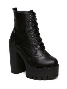 Zipper Black Lace-Up Short Boots