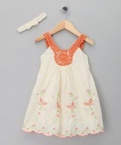 This darling dress combines oh-so-soft cotton with charming embroidery and a scalloped hem. Details like the crocheted straps and a matching headband make for one elegant yet effortless ensemble.Includes dress and cottonMachine washImported Crochet Toddler, Crochet Girls, Crochet Baby Clothes, Crochet For Kids, Crochet Yoke, Crochet Fabric, Orange Butterfly, Butterfly Dress, Robe Diy