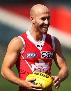 Jarrad Mcveigh reacts during a Sydney Swans AFL training session at Patersons Stadium on September 19, 2013 in Perth, Australia.