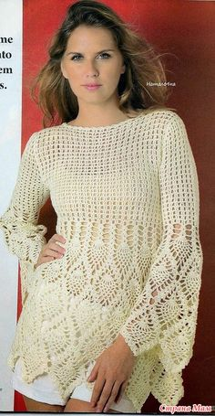 Crochet Blouse - Free Crochet Diagram - (stranamam)... link for the crochet chart: http://www.stranamam.ru/post/7734955/