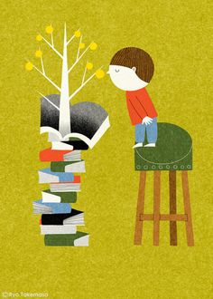 """Each book has its fruits"" - illustration by Ryo Takemasa"