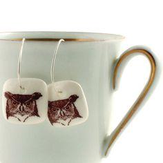 Owls Earrings Porcelain [whitney]