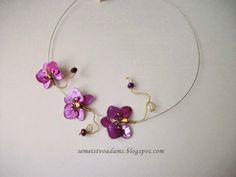 necklace Wire orhid with nail polish / Цветы из проволока и лака для ногтей