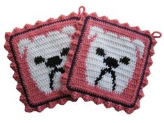 Hey, I found this really awesome Etsy listing at https://www.etsy.com/listing/110102992/bulldog-pot-holder-set-pink-crocheted