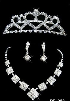 A045-3 Tiara Wedding Bride 3 Pcs Per Jewelry Sets Necklaces Earrings C –…