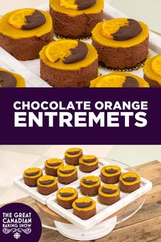 Chocolate Orange Entremets | Multi-layered mini mousse cakes with classic dark chocolate, orange and praline flavors. Recipes from The Great Canadian Baking Show, season four. Dark Chocolate Mousse, Chocolate Orange, Melting Chocolate, Chocolate Cake, Mini Mousse, Candied Orange Slices, Baker Recipes, Cakes, Baking