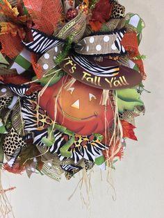 Fall Wreath, Its Fall Y'all, Animal Print Fall, Pumpkin Wreath, Door Hanger, Fall Decor, Shipping Included