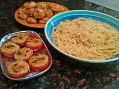 fast, fiery, and cheap: spicy alfredo, garlic parmesan broiled tomatoes, and coconut macaroons
