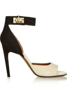 Givenchy | Shark Lock nubuck and textured-leather sandals in beige and black | NET-A-PORTER.COM