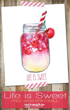 Life is Sweet Free Printable | 8x10 Summer Printable | Instant Download