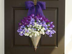 Spring wreath front door wreath spring decor purple by aniamelisa, $95.00