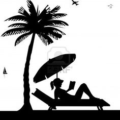 Silhouette of girl sunbathing and reading a book on the beach next to the palms, one in the series of similar images Stock Photo