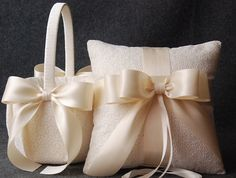 Wedding Ring Pillow and Flower Girl Basket Set - Ivory Lace with Satin Bows - Katherine