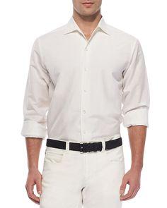 Sahara Melange Andre Linen Shirt, White - Loro Piana